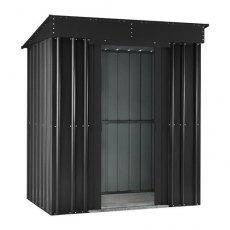 Isolated view of 6 x 3 Lotus Pent Metal Shed in Anthracite Grey with sliding doors open