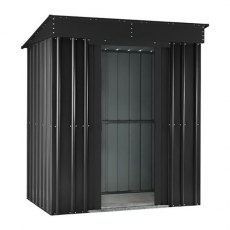 Isolated view of 6 x 4 Lotus Pent Metal Shed in Anthracite Grey with sliding doors open