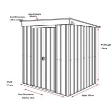 Dimensions for 6 x 4 Lotus Pent Metal Shed in Heritage Green