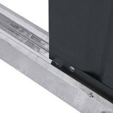 Bottom of sliding door mechanism on 8 x 4 Lotus Pent Metal Shed in Anthracite Grey