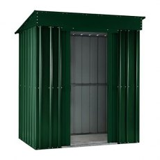 Isolated view of 8 x 4 Lotus Pent Metal Shed in Heritage Green with sliding doors open