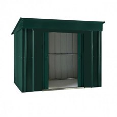Isolated view of 6 x 4 Lotus Low Pent Metal Shed in Heritage Green with sliding doors open