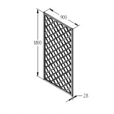 3ft x 6ft (900mm x 1800mm) Forest Hidcote Lattice Trellis - Dimensions