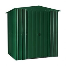 Isolated view of 6 x 5 Lotus Apex Metal Shed in Heritage Green with sliding doors closed