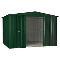 Isolated view of 10 x 12 Lotus Apex Metal Shed in Heritage Green with sliding doors open