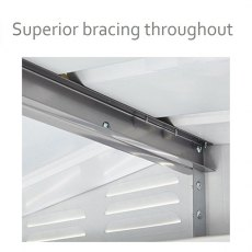 Interior view of high quality bracing used for 10 x 12 Lotus Apex Metal Sheds