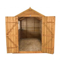 8x10 Forest Overlap Workshop Shed with Double Doors - Front view, doors open