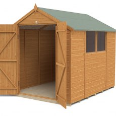 8x6 Forest Shiplap Shed with Double Doors - Angled view, showing windows, doors open