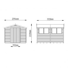 8x10 Forest Shiplap Workshop Shed with Double Doors - Dimensions