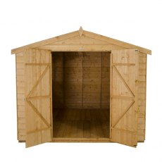 8x10 Forest Shiplap Workshop Shed with Double Doors - Front view, doors open