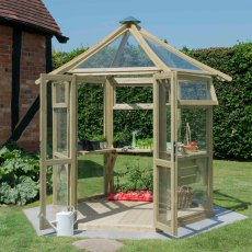 8 x 9 (2.45m x 2.81m) Forest Hexagonal Glasshouse