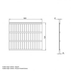 5ft High Forest Pressure Treated Featheredge Fence Panel - Dimensions