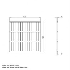 6ft High Forest Pressure Treated Featheredge Fence Panel - Dimensions