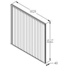 5ft High Forest Closeboard Fence Panel - Dimensions