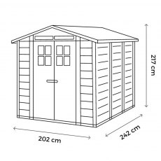 Shire Tuscany EVO 240 Plastic Shed - dimensions