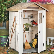 Shire Tuscany EVO 120 Plastic Shed - in situ