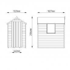 6 x 4 Forest Overlap Apex Garden Shed - Dimensions