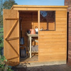 4 x 6 (1.27m x 1.82m) Forest Overlap Pent Garden Shed