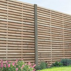 6ft High Forest Double Slatted Fence Panel - in situ