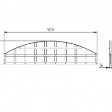 1ft 6in High (Forest Convex Trellis Fence Topper - Dimensions