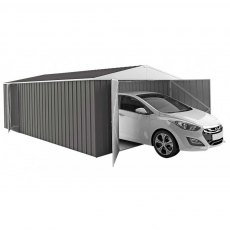 15 x 10 Melbourne Metal Garage in Slate Grey - Shown with car