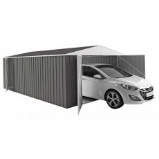20 x 10 Melbourne Metal Garage in Slate Grey - Shown with car