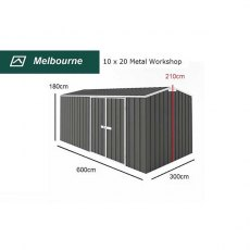 10 x 20 Melbourne Metal Workshop in Slate Grey - Dimensions