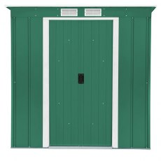 6 x 4 Sapphire Pent Metal Shed in Green - Doors closed