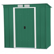 6 x 4 Sapphire Pent Metal Shed in Green - Angled view