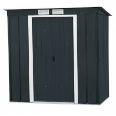 6 x 4 Sapphire Pent Metal Shed in Anthracite Grey - Doors closed