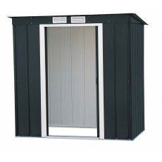 6 x 4 Sapphire Pent Metal Shed in Anthracite Grey - Angled view