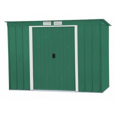 8 x 4 Sapphire Pent Metal Shed in Green - Angled view