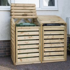 5 x 3 (1.46m x 0.92m) Forest Bi Fold Double Wheelie Bin Hide - Pressure Treated