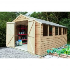 15 x 10 (4.55m x 3.04m) Forest Overlap Double Door Pressure Treated Apex Workshop Shed