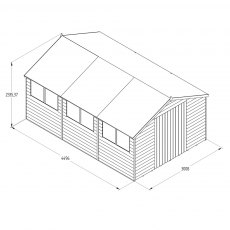 15 x 10 Forest Overlap Double Door Pressure Treated Apex Workshop Shed - drawing