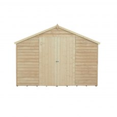 15 x 10 Forest Overlap Double Door Pressure Treated Apex Workshop Shed - front view