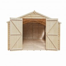 15 x 10 Forest Overlap Double Door Pressure Treated Apex Workshop Shed - doors open