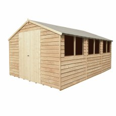 15 x 10 Forest Overlap Double Door Pressure Treated Apex Workshop Shed - doors closed