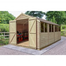 20 x 10 (6.03m x 3.04m) Forest Overlap Double Door Pressure Treated Apex Workshop Shed