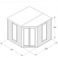 8 x 8 Forest Oakley Corner Summerhouse - Pressure Treated - Specification