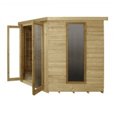 8 x 8 Forest Oakley Corner Summerhouse - Pressure Treated - Side elevation doors open