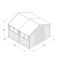 10 x 10 Forest Overlap Double Door Pressure Treated Apex Workshop Shed - drawing