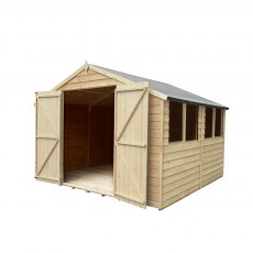 10 x 10 Forest Overlap Double Door Pressure Treated Apex Workshop Shed - doors closed front view