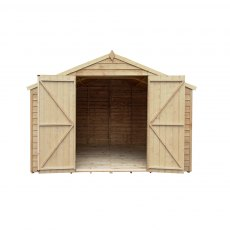 10 x 10 Forest Overlap Double Door Pressure Treated Apex Workshop Shed - doors open
