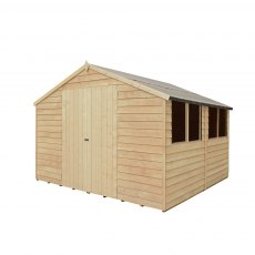10 x 10 Forest Overlap Double Door Pressure Treated Apex Workshop Shed - doors closed side view