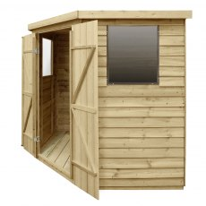 7x7 Forest Overlap Corner Shed - Side Elevation with doors open