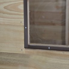 7x7 Forest Overlap Corner Shed - close up of fixed window