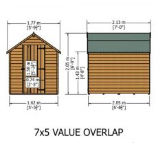 7 x 5 Shire Value Overlap Pressure Treated Shed - Windowless - Dimensions