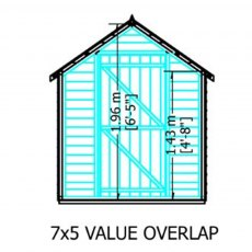 7 x 5 Shire Value Overlap Pressure Treated Shed - Windowless - Side dimesnions