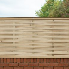 3ft High (910mm) Forest Woven Fence Panel - Pressure Treated  - front view insitu